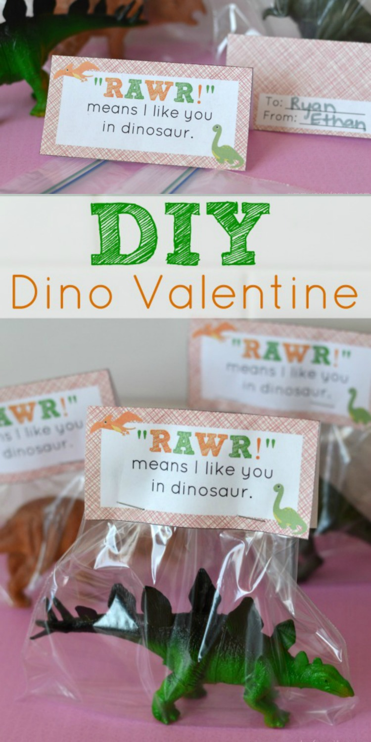 These easy DIY dinosaur valentine printables are the perfect non-edible valentine to pass out in the classroom this Valentine's Day! They also make great dinosaur party favors.