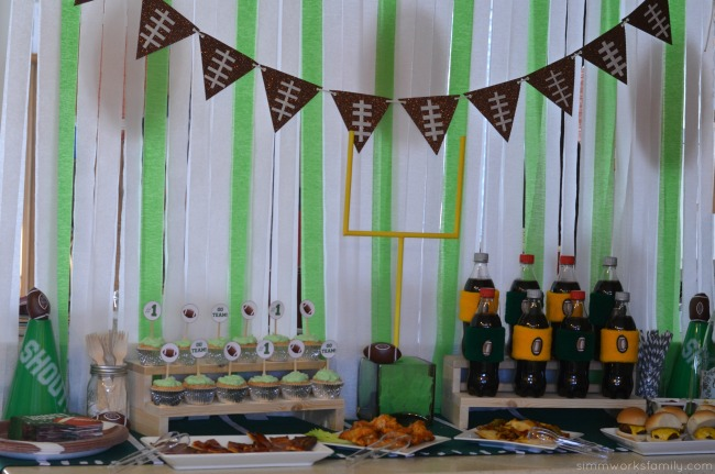 big game party ideas football food spread