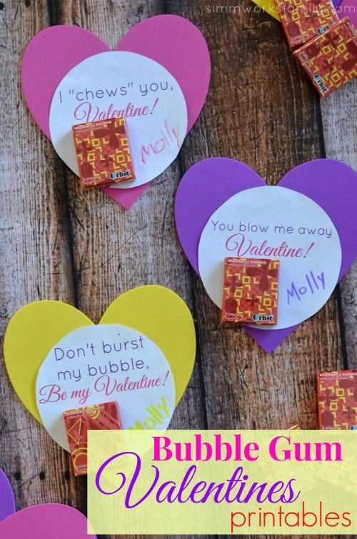 bubble gum valentine printable