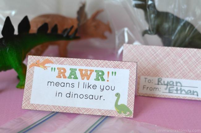 dinosaur valentine printable dino tag
