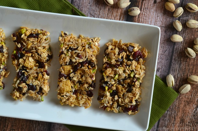 pistachio granola bar recipe cut out