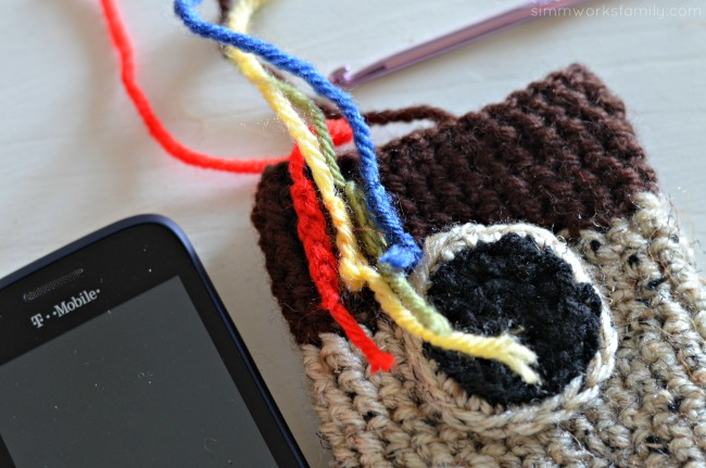 crochet instagram phone cover square rainbow