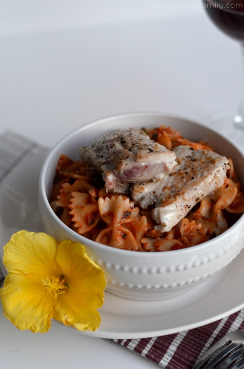 pasta puttanesca with seared ahi close up #shop