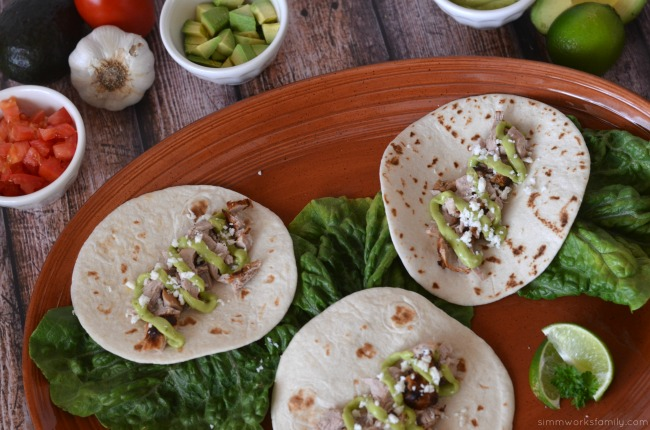 tequila lime pork tacos aerial