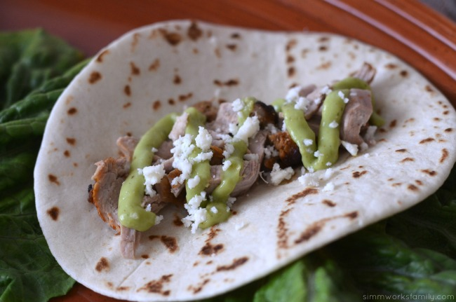 tequila lime pork tacos close up
