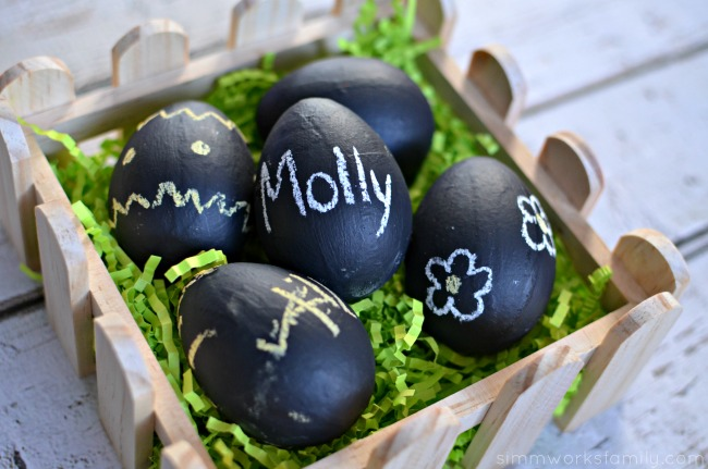 Chalkboard Easter Eggs in easter basket