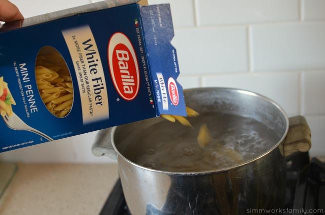 Sausage Broccoli and Feta Pasta Recipe - add Barilla pasta to water