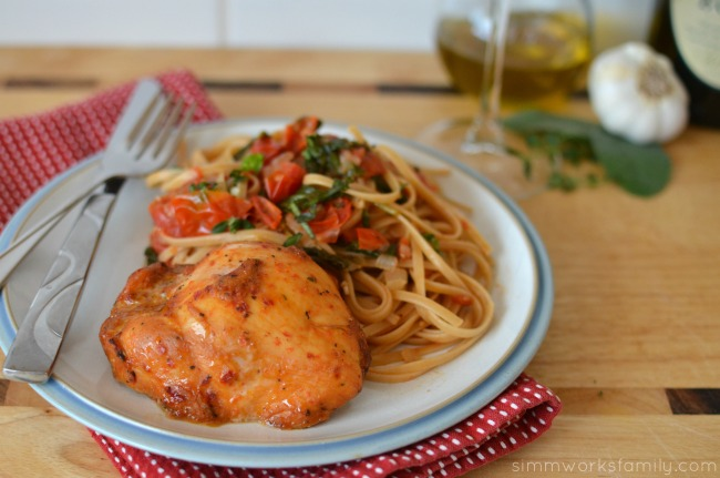Chicken and Linguine with White Wine Sauce for date night