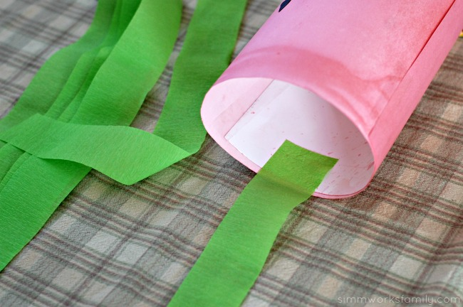 DIY Fruit Juice Dyed Watermelon Windsock attach crepe paper