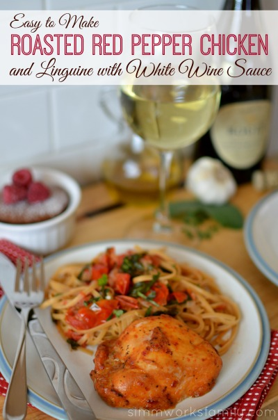 Easy To Make Roasted Red Pepper Chicken and Linguine with White Wine Sauce