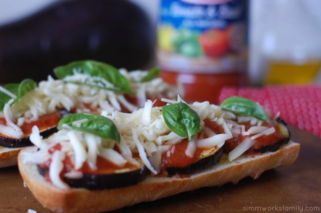 Eggplant French Bread Pizza top with mozzarella