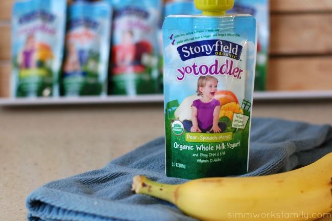 On-The-Go Breakfast Ideas for Busy Mornings YoToddler pear spinach mango yogurt pouch