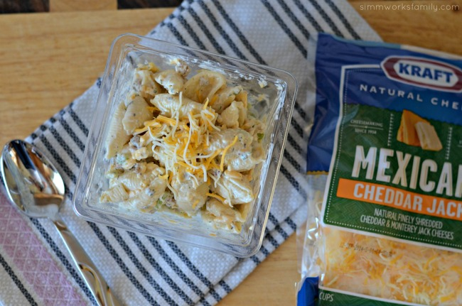 Bacon Cheddar Ranch Pasta Salad with KRAFT shredded cheese