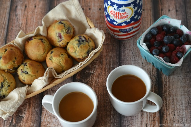 Healthy Berry Muffin recipe paired with coffee and coffee-mate