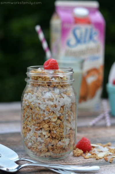 Almond Coconut Granola Recipe in a mason jar