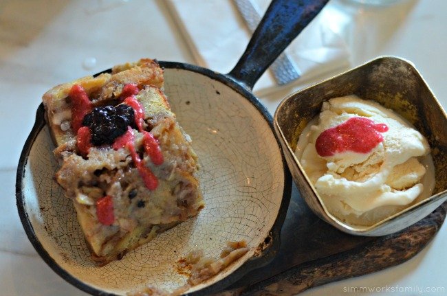 Cafe 21 San Diego - berry bread pudding dessert