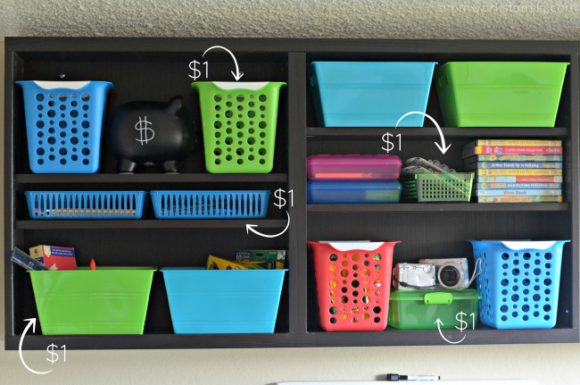 How to Create a DIY Homework Station for Less - Dollar Tree bins