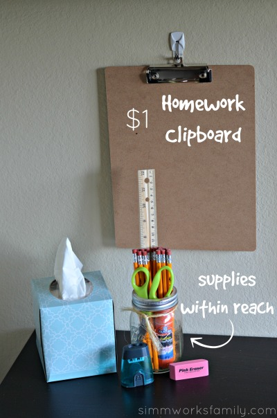 How to Create a DIY Homework Station for Less - supplies within reach with homework clipboard
