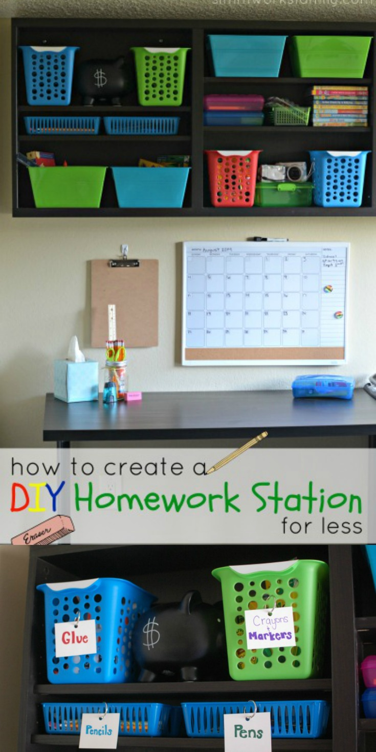 Creating a DIY homework station isn't hard. In fact, you don't have to spend a lot of money to do it!