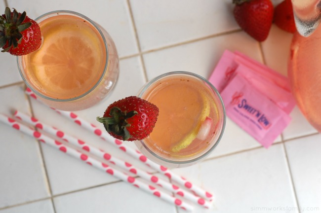 Strawberry Lemonade with a Twist Drink Recipe with mascerated strawberries #SweetNLowStars