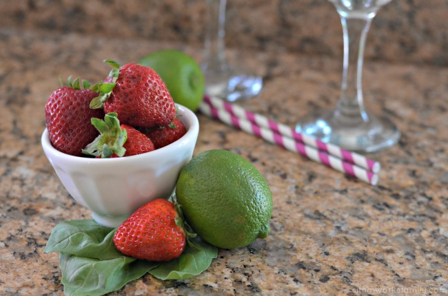 Virgin Strawberry Basil Margaritas ingredients #SweetNLowStars