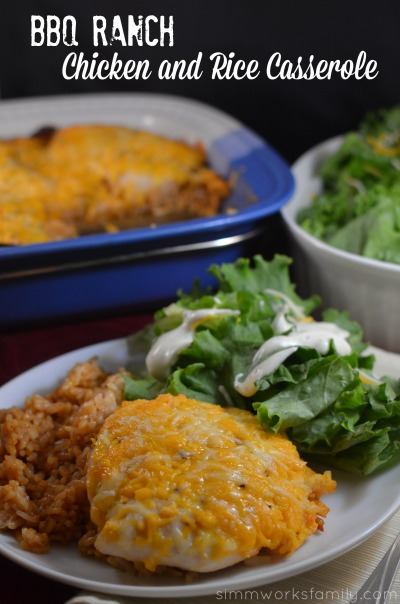 BBQ Ranch Chicken and Rice Casserole - a delicious budget friendly meal for under $20