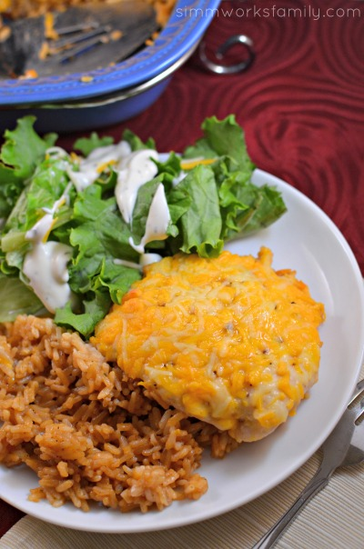 BBQ Ranch Chicken and Rice Casserole - cheesy chicken