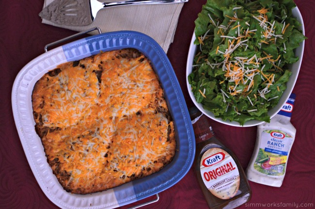 BBQ Ranch Chicken and Rice Casserole - with Kraft dressing and bbq