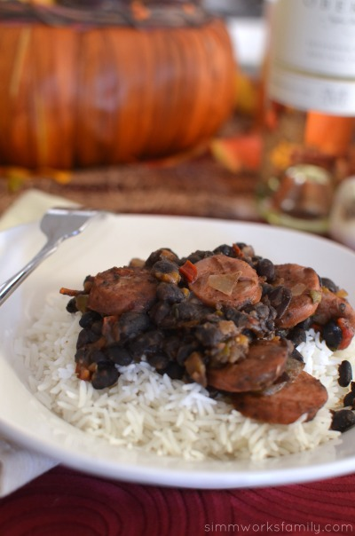 Black Beans and Rice with Sausage featuring Oberon wine