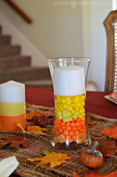 Candy Corn Inspired Tablescape + a Starbursts Wrapper Napkin Ring Tutorial - candy corn candles