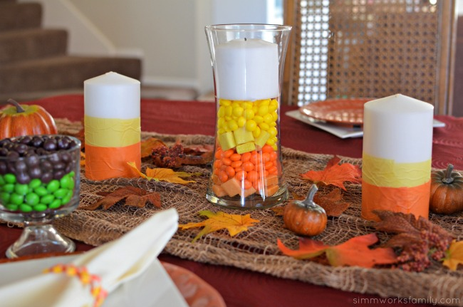 Candy Corn Inspired Tablescape + a Starbursts Wrapper Napkin Ring Tutorial - candy corn centerpiece