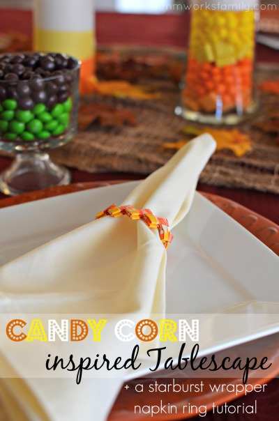 Candy Corn Inspired Tablescape + a Starburst Wrapper Napkin Ring Tutorial