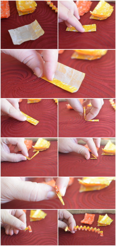 Candy Corn Starburst Wrapper Napkin Ring Tutorial - step by step