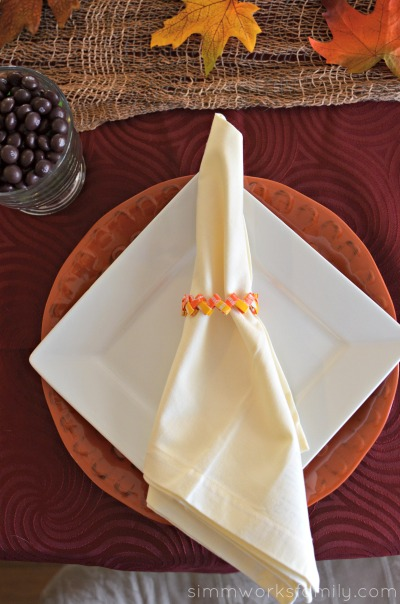 Candy Corn Starburst Wrapper Napkin Ring Tutorial