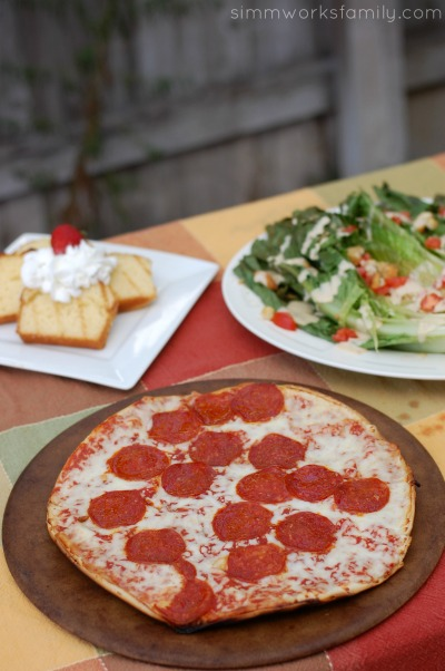 Easy Dinner Ideas On The Grill - pizza, salad, and dessert