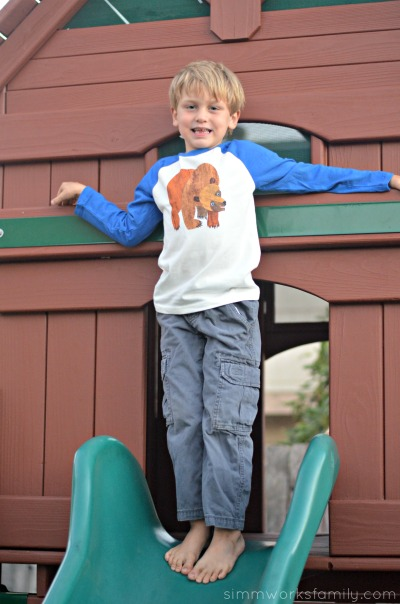 Finding the Perfect Playtime Outfits with Gymboree Eric Carle Clothing Collection - standing on slide