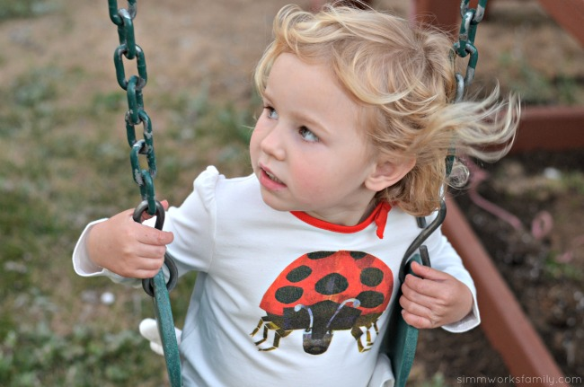 Finding the Perfect Playtime Outfits with Gymboree Eric Carle Clothing Collection - swinging
