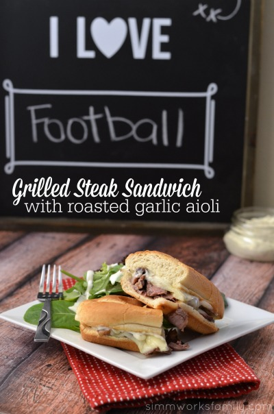 Grilled Steak Sandwich with Garlic Aioli Recipe - a simple and easy meal perfect for tailgating!