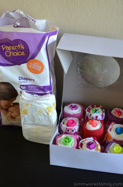 How to Make Diaper Cupcakes with Parent's Choice Diapers
