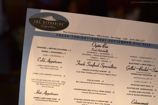 San Diego Restaurant Week - Oceanaire Seafood Room Review menu