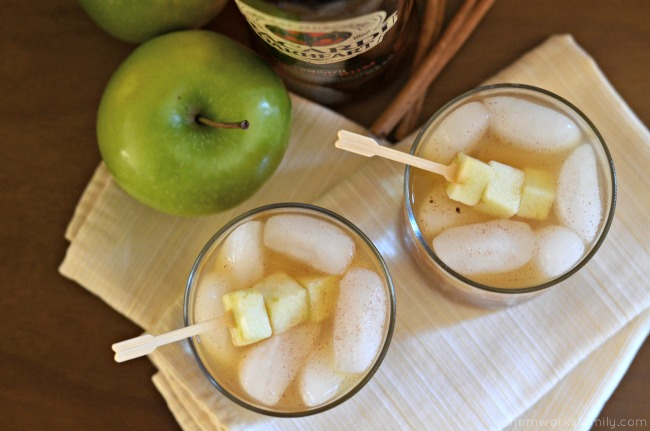 Spiked Apple Cider Drink Recipe with apple skewers #SweetNLowStars
