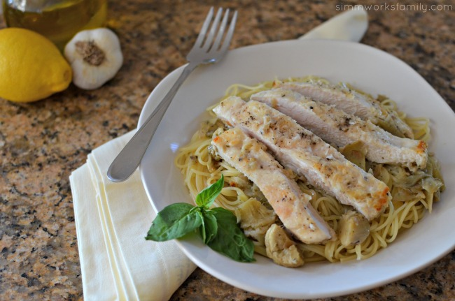 Artichoke Chicken Pasta + Pantry Staples to Save Time - simple and easy pantry meal