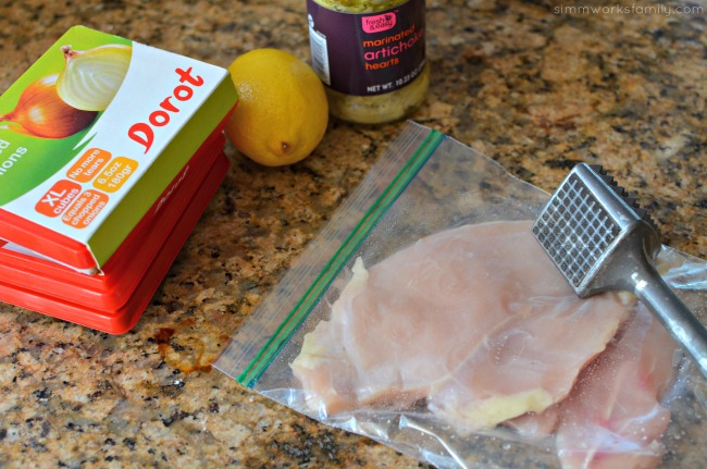 Artichoke Chicken Pasta + Pantry Staples to Save Time - thin chicken saves cooking time