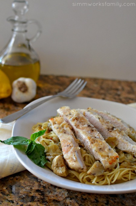Artichoke Chicken Pasta + Pantry Staples to Save Time with Dinner