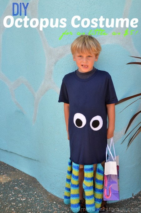 DIY Octopus Costume - a quick and easy costume you can make for as little as $5 with the help of Dollar Tree
