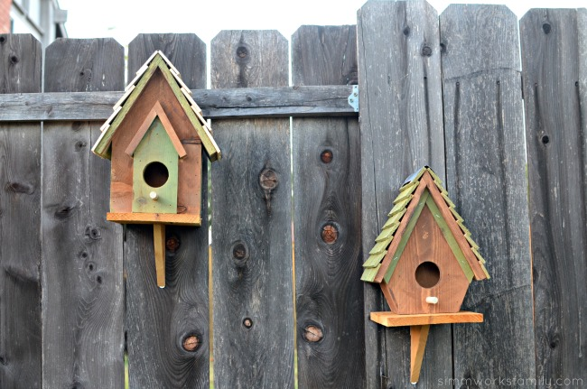 Easy DIY Birdhouses for Kids - birdhouses on the fence