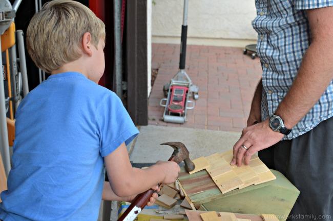 Easy DIY Birdhouses for Kids - hammering staples