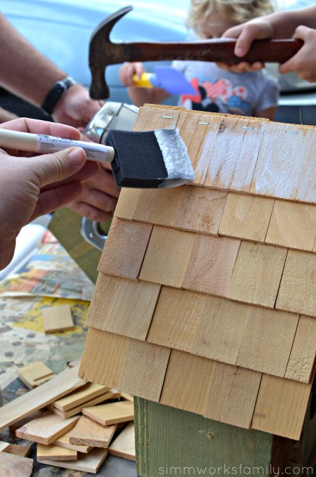 Easy DIY Birdhouses for Kids - painting shingles