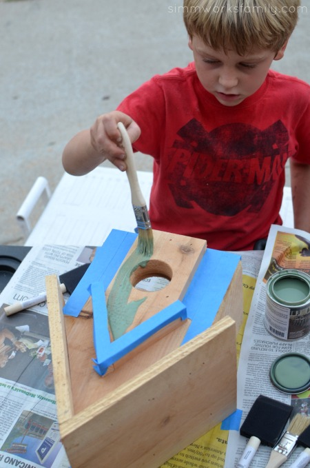 Easy DIY Birdhouses for Kids - stain birdhouses