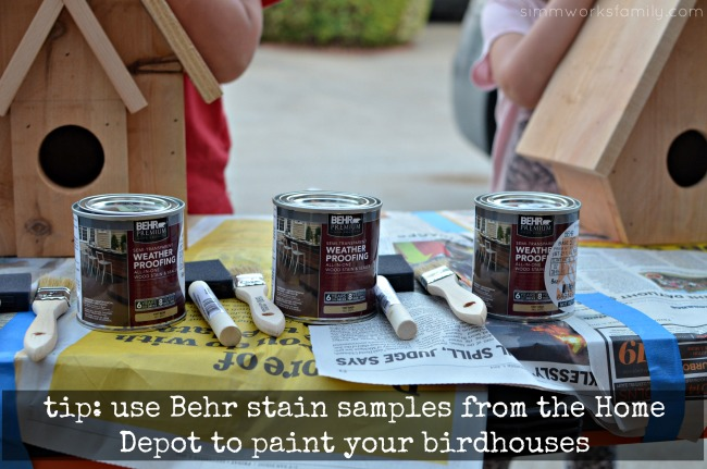 Easy DIY Birdhouses for Kids - stain tip